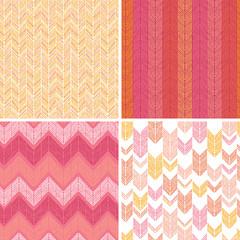 Vector set of four abstract textile stripes argyle seamless