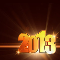golden year 2013 with shining rays, brown background