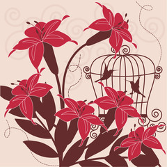 Printed roller blinds Birds in cages Birds in cage