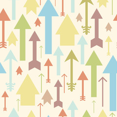 Vector arrows pointing up seamless pattern background with hand