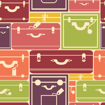 Vector colorful luggage seamless pattern background with hadn