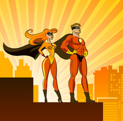 Poster de jardin Super heros Super Heroes - Male and Female.