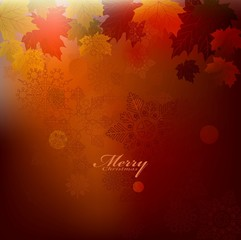beauty christmas card background with snowflake and autumn
