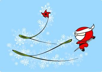 Ninja Santa Claus and a Christmas tree
