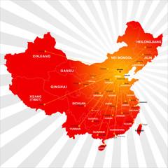 Keuken foto achterwand Wereldkaart Vector China map