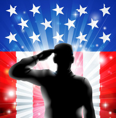 Aluminium Prints Superheroes US flag military soldier saluting in silhouette