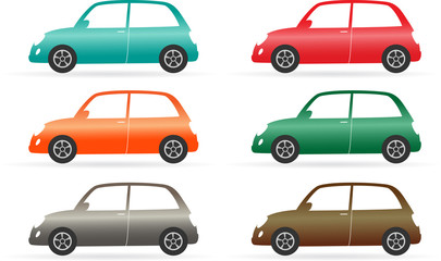set of colorful isolated vintage car