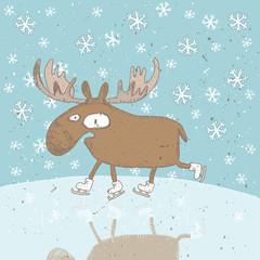Funny Christmas Card ... Moose ice-skating on frozen lake
