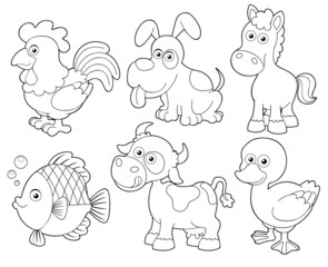 illustration of farm animals cartoon.Coloring book