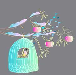 Wall Murals Birds in cages winter background with cage and bird