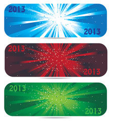 2013 new year banner icons in 3 color