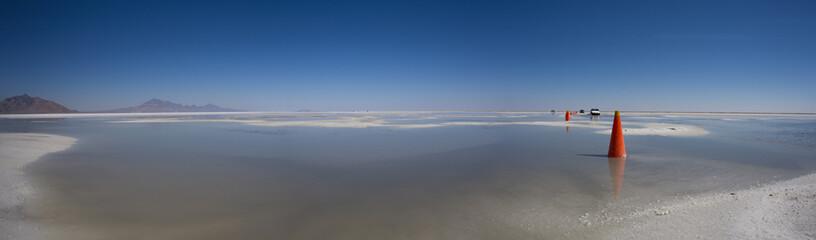 Bonneville Salt Flats with Mountains