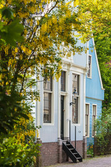Historic Dutch houses in the village Broek in Waterland