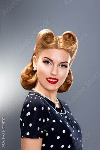"""Pin-up Style. Styled Fashion Model in Retro Dress - Glamour"" Стоковая фотография и роялти-фри изображение на Fotolia.ru - Pic 4"