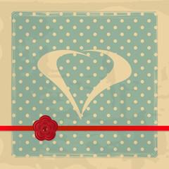 retro card with a ribbon