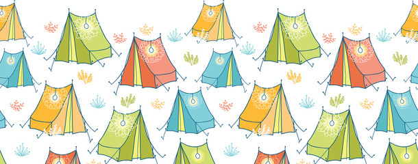 Vector camp tents horizontal seamless pattern background