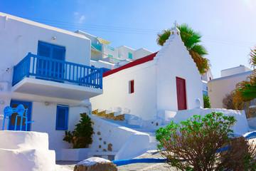 Beautifull Traditional Church In Mykonos Island Greece Cyclades