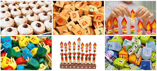 hanukkah jewish collage made from six images