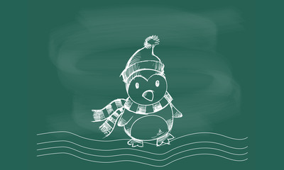 Penguin graphic vector on the blackboard chalk