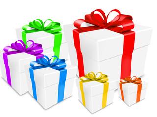 multiple color gift box over white background 3d illustration