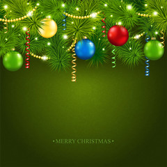 Christmas card with a beautiful tree