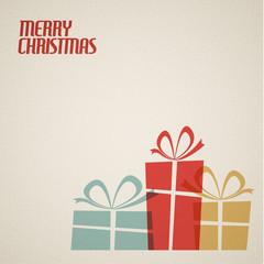 Retro Christmas card with christmas presents
