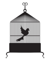Printed roller blinds Birds in cages Bird cage