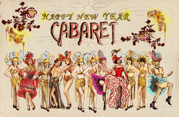 Cabaret Happy New Year ! Retro image with cancan dancers.