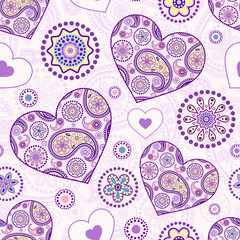 seamless pattern with abstract floral hearts