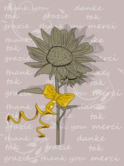Dankeschön, Karte mit Sonnenblume