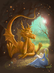 Spoed Fotobehang Draken dragon and princess reading a book