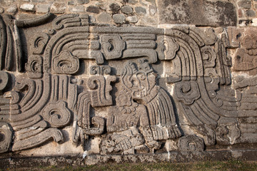 Wall of the Temple of the Feathered Serpent in Xochicalco