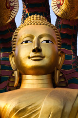 Gold face of Buddha.