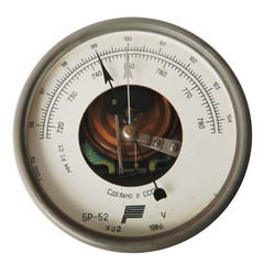 vintage barometer isolated over white
