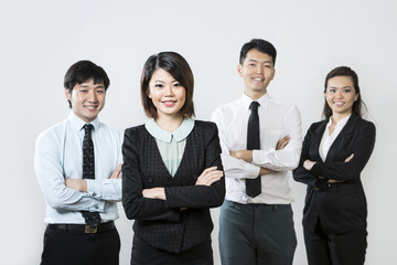 Chinese business woman with her team.
