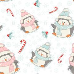 Cute Christmas penguins seamless pattern