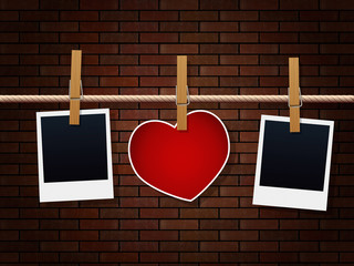 Photo Frames And Heart On Rope