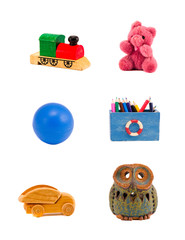 various toys group isolated on white background