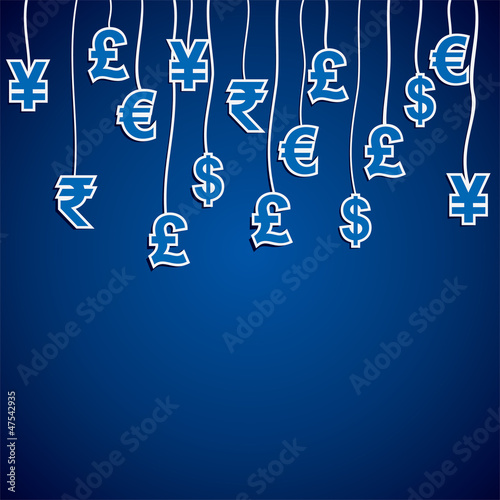 Currency Symbol Of The Different Countries In Blue Background Stock