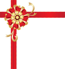 Christmas gold and red bow gift
