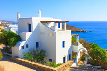 Traditional sea view in Mykonos island Greece Cyclades