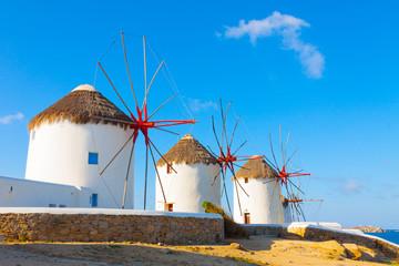 Windmills with blue sky  Mykonos Island Greece Cyclades
