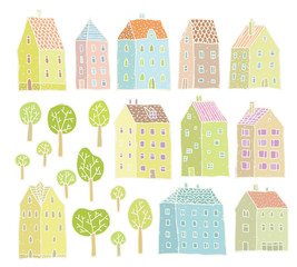 Houses and Trees collection: set of isolated elements
