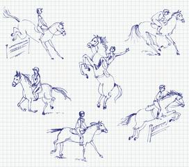 Jockey riding a horse. Set. Hand-drawn