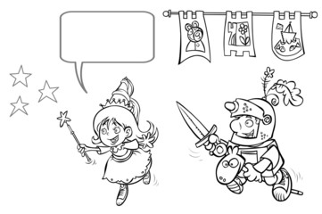 Little Princess- Enchantress and Knight- Boy. Outline drawing.