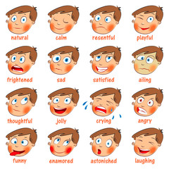 Emotions. Cartoon facial expressions set
