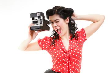 Pin-up girl American style retro woman camera