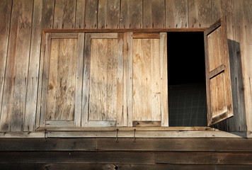 Wooden Windows of Old House in Thailand