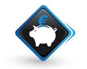 icône tirelire avec son euro sur bouton carré bleu design