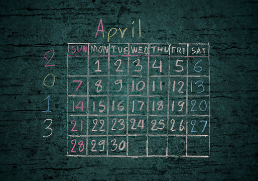 "calendar ""April 2013"" on grunge"